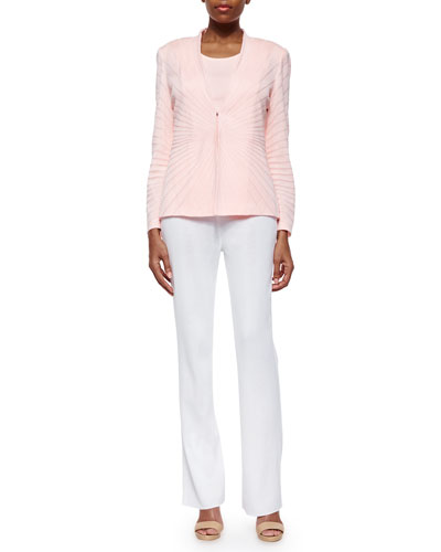Sunburst Solid Jacket, Scoop-Neck Knit Tank & Boot-Cut Knit Pants