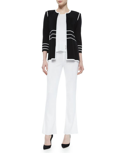 3/4-Sleeve Zip Jacket with Piping, Scoop-Neck Knit Tank & Washable Wide-Leg Pants, Petite