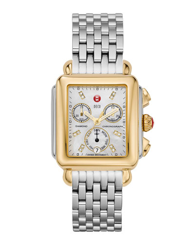 Deco Diamond Dial Watch Head & 18mm Gold Metallic Saffiano Strap