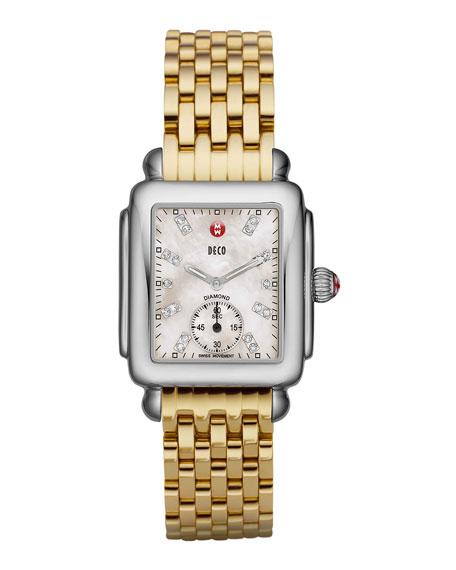 MICHELE16mm Deco Diamond Dial Watch Head, Steel