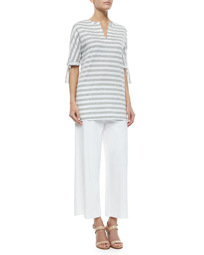 Striped Tie-Sleeve Tunic & Wide-Leg Interlock Pants, Women