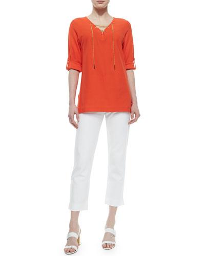Cotton Pique Lace-Up Tunic & Slim Ponte Ankle Pants, Women's