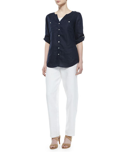 Linen Button-Front Tunic & Straight-Leg Linen Pants, Petite