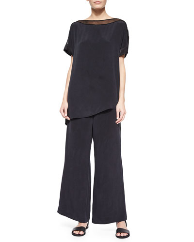 Silk Boat-Neck Easy Tunic & Full-Leg Silk Pants, Petite