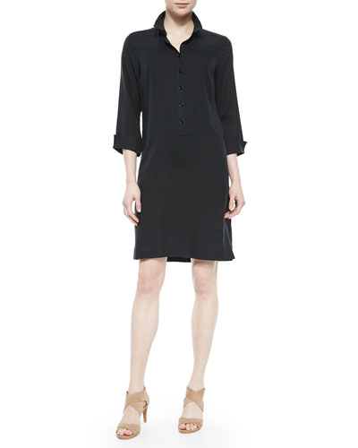 3/4-Sleeve Silk Shirtdress, Petite