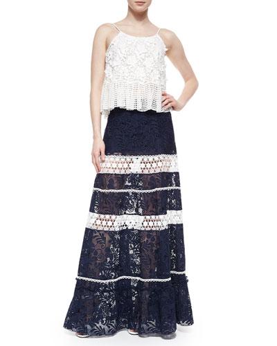 Reza Dotted/Floral Crochet Top & Konsta Lace-Stripe Maxi Skirt
