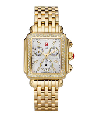 c0aa5b41ae9e MICHELE 18mm Deco Diamond Watch Head, Gold 18mm Deco Gold Bracelet Strap