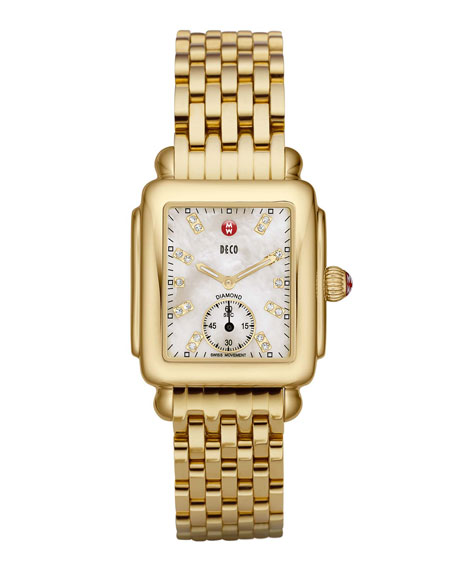 MICHELE 16mm Deco Diamond Dial Watch Head, Gold