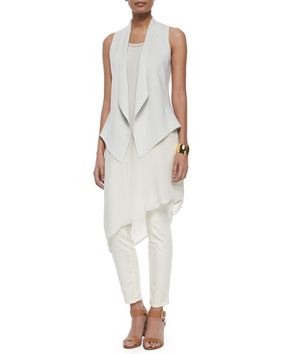 Eileen Fisher Angled Silk Cotton Interlock Vest, Sleeveless
