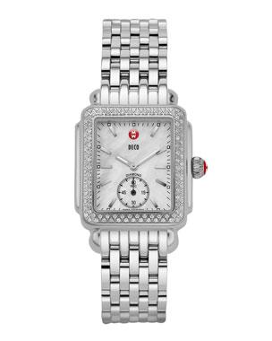 b29b4aa475a5 MICHELE 16mm Deco Diamond Watch Head, Steel 16mm New Deco Bracelet Strap