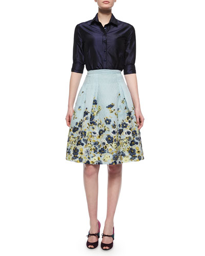 Taffeta Button-Down Shirt & Flower Fil Coupe Party Skirt
