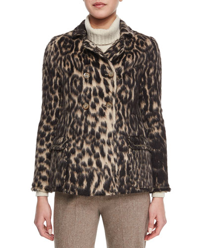 Leopard Jacquard Peacoat & Cashmere Wide Rib-Trim Turtleneck Sweater