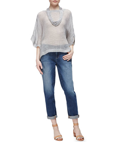 Linen-Blend Mesh Short-Sleeve Poncho Top, Drapey Metallic Necklace & Stretch Boyfriend Jeans