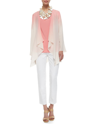 Ombre Draped Long Silk Jacket, Stretch Silk Long Cami & Organic Skinny Ankle Jeans