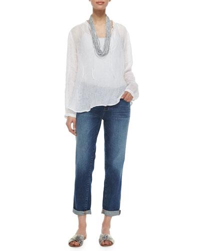 Long-Sleeve Windowpane Gauze Top, Drapey Metallic Necklace & Stretch Boyfriend Jeans