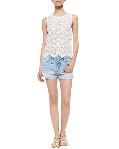 Le Lace Tank & Le Grande Garcon Distressed Shorts