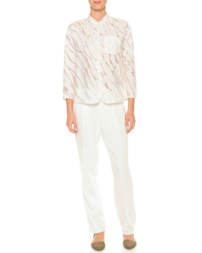 Semisheer Fil Coupe Blouse & Pleated Gabardine Tapered Pants