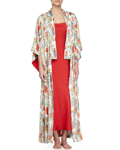 Dynasty Pearl-Print Long Robe & Gown
