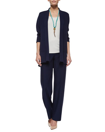 3/4-Sleeve Silk-Cotton Interlock Cardigan, Stretch Silk Long Cami & Washable-Crepe Straight-Leg Pants, Women's