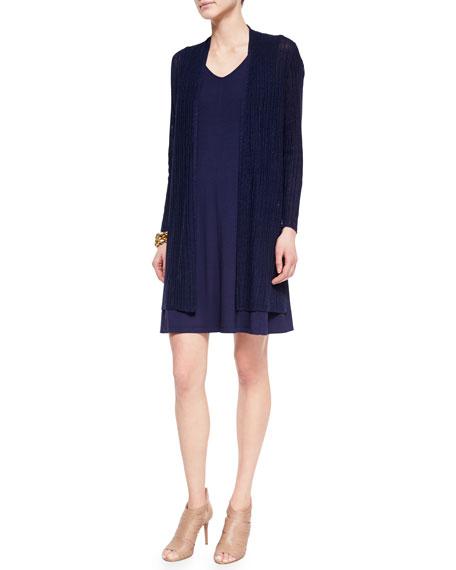 Eileen Fisher Ribbed Washable Organic Linen Cardigan, Midnight,