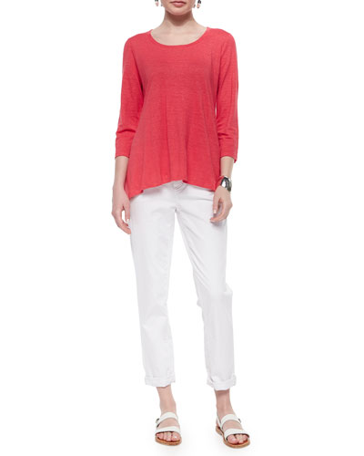 3/4-Sleeve Linen Jersey Top & Stretch Boyfriend Jeans, Women