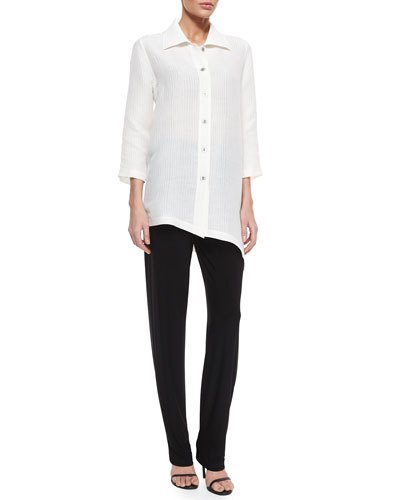 3/4-Sleeve Ribwave Shirt & Stretch-Knit Slim Pants, Petite