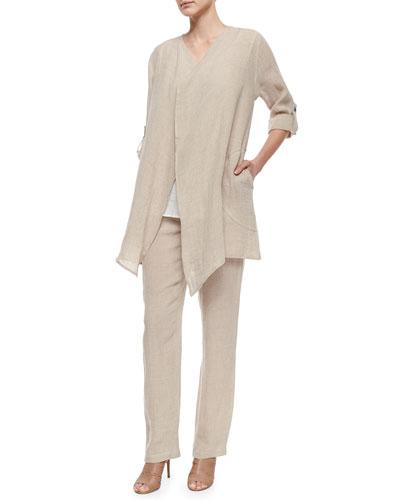 Long Crinkled Linen Jacket, Tank & Straight-Leg Linen Pants, Women