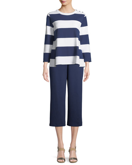 Joan Vass Cropped Cotton Interlock Pants, Plus Size