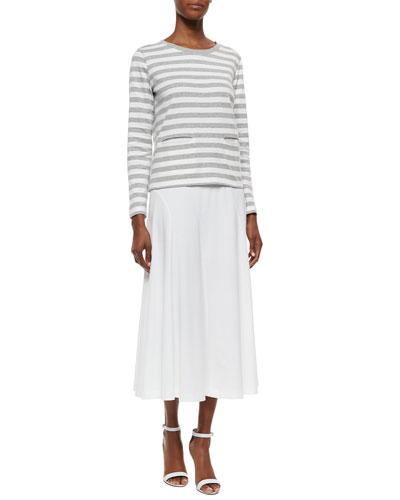 Long-Sleeve Striped Top & Seamed Midi Skirt, Women's