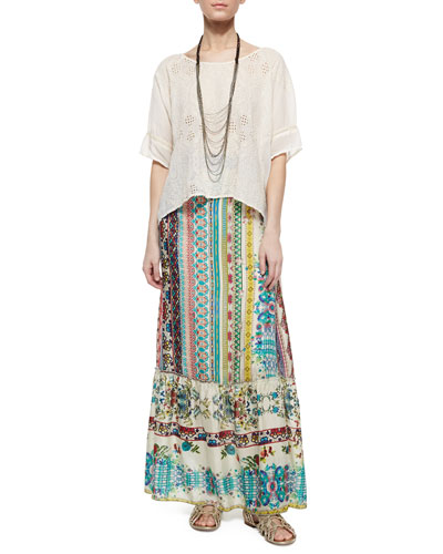 Embroidered Eyelet Georgette Boxy Blouse, Tiered Capri Necklace &  Nova Printed Silk Tiered Maxi Skirt, Women's
