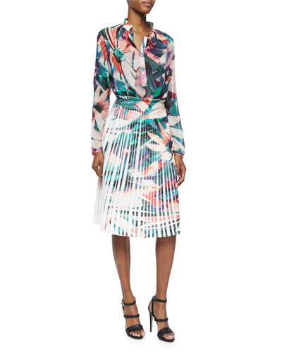 Long-Sleeve Floral-Print Blouse & Pleated Floral-Print Skirt
