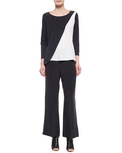Spliced Asymmetric Silk Tunic & Full-Leg Silk Pants, Petite