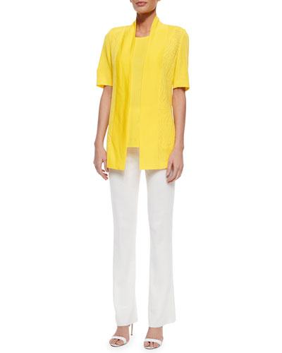 Short-Sleeve Graphic Lines Cardigan, Sleeveless Long Tank & Boot-Cut Knit Pants, Women's