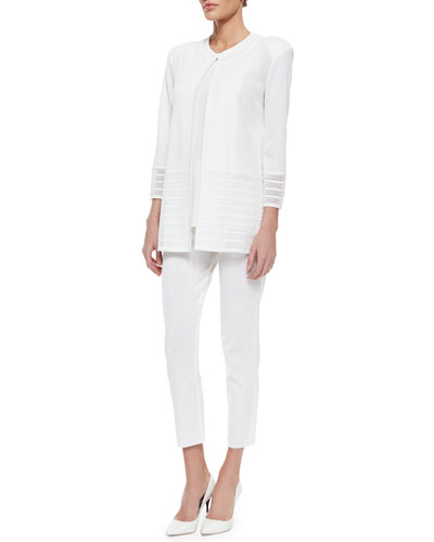 Long Jacket with Perforated Trim, Sleeveless Long Tank Top & Slim Cropped Ankle Pants, Women's