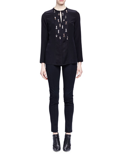 Crystal-Embroidered Slit-Keyhole Blouse & Skinny-Fit Raised-Seam Trouser