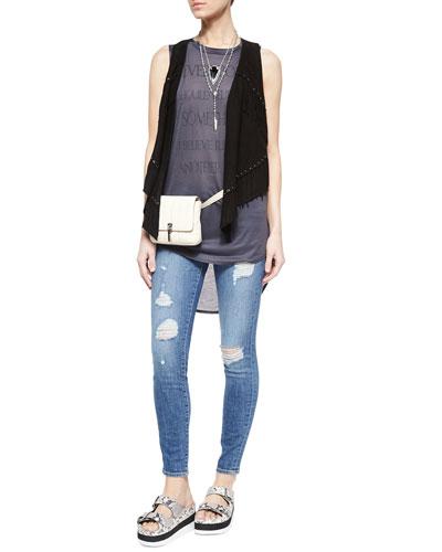 Fringe-Detail Vest, Graphic-Print Sleeveless Tee, Le Skinny De Jeanne Jeans, Lambskin Belt Bag & Snake-Print Sandal