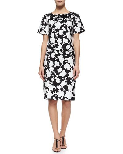 short-sleeve embellished floral crop top & midi pencil skirt