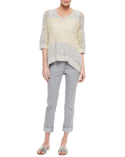 Colorblock Eyelet-Stitch Sweater, Scoop-Neck Tank & Curvy Double-Cuff Cropped Jeans