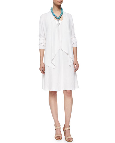 Organic-Linen Angled-Front Cardigan & Sleeveless Linen Bias Dress, Women's