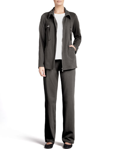 Long-Sleeve Jersey Tee, Organic Drawstring Jacket & Pants, Petite