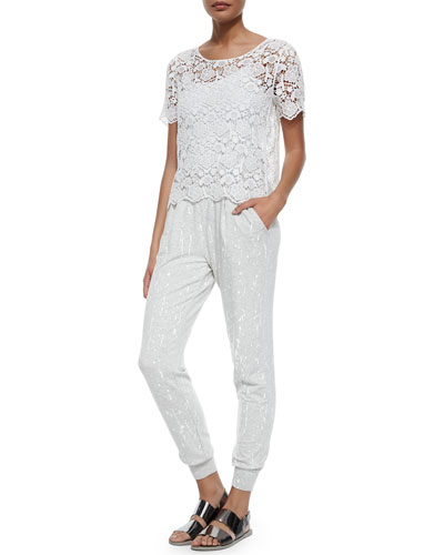 Krissy Floral Mesh Embroidered Top & Jolie Paint Splatter Sweat Pants