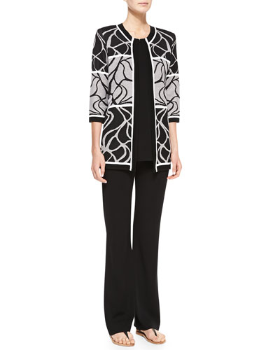 Multi-Design Open Jacket, Sleeveless Knit Tank & Boot-Cut Knit Pants