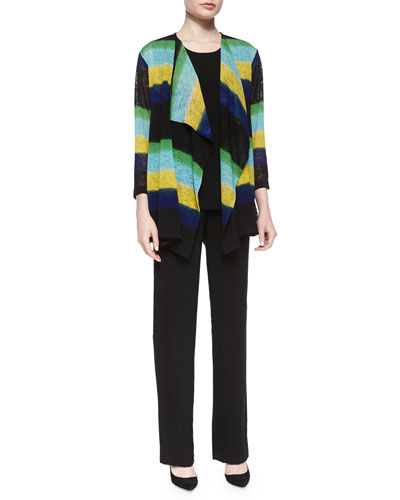 Striped Draped Knit Jacket, Crinkle Tank & Wide-Leg Jersey Pants, Petite