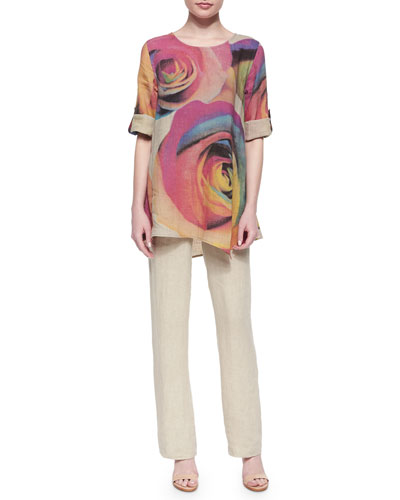 Big Rose-Print Tunic & Tissue Linen Straight-Leg Pants, Women