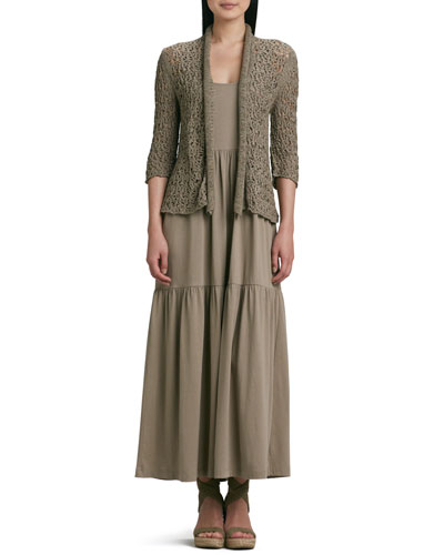 Tape Yarn Knit Cardigan & Tiered Long Tank Dress, Plus Size