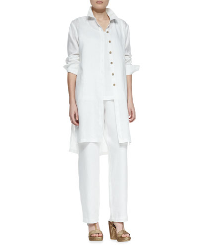Long-Sleeve Linen Duster, Linen Scoop-Neck Tank & Straight-Leg Linen Pants