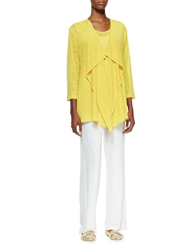 Gauze Knit Draped Jacket, Solid Knit Tank & Straight-Leg Knit Pants, Petite