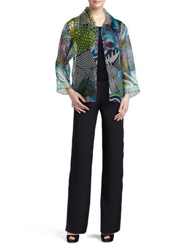 Patchwork Easy Shirt/Jacket, Silk Crepe Tank & Straight-Leg Silk Crepe Pants, Petite
