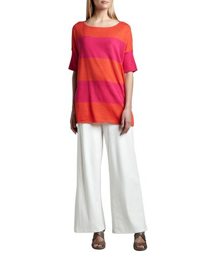 Striped Boxy Sweater & Ponte Wide-Leg Pants, Women's