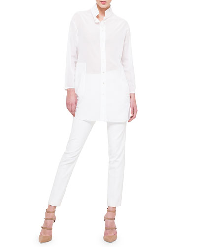 Long-Sleeve Cotton Voile Tunic, V-Neck Linen/Silk Knit Tank & Conny Side-Zip Ankle Pants